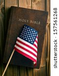 Holy Bible With American Flag...