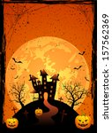 halloween night  scary house on ... | Shutterstock . vector #157562369
