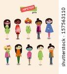 hipster girls fashion set | Shutterstock .eps vector #157563110