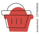 basket  with red shadow icon. e ...