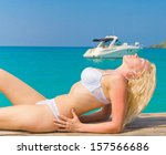 in joy on a tropical resort  | Shutterstock . vector #157566686