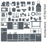 kitchen elements silhouette... | Shutterstock .eps vector #157567424