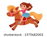 little girl riding a cute pony | Shutterstock .eps vector #1575682003