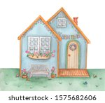 Watercolor Cute Easter House....