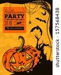 funny vector halloween poster | Shutterstock .eps vector #157568438