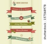 christmas set of ribbons ... | Shutterstock .eps vector #157568978