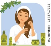 young woman using hair products ... | Shutterstock .eps vector #1575717133