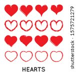 grungy vector hand draw hearts. ... | Shutterstock .eps vector #1575721279