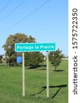 Small photo of PORTAGE LA PRAIRIE, MANITOBA/CANADA- SEPTEMBER 26, 2019: A Vertical of Portage La Prairie, Manitoba, Canada welcome sign