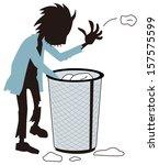 homeless who hunts trash | Shutterstock .eps vector #157575599
