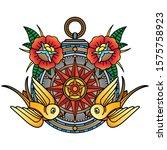 traditional compass tattoo... | Shutterstock .eps vector #1575758923