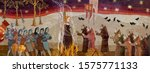 medieval scene. inquisition.... | Shutterstock .eps vector #1575771133