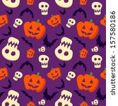 funny halloween pattern with... | Shutterstock . vector #157580186