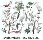 Herons  Peonies And Bird In...