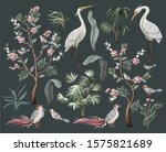 herons  peonies and bird in... | Shutterstock .eps vector #1575821689