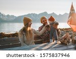 happy family outdoor mother and ... | Shutterstock . vector #1575837946
