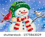 Snowman And Birds. Merry...