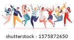 group of young joyful jumping... | Shutterstock .eps vector #1575872650