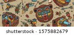 bear head seamless pattern. old ... | Shutterstock .eps vector #1575882679