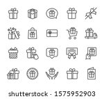 vector set of gift line icons....
