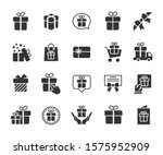 vector set of gift flat icons.... | Shutterstock .eps vector #1575952909