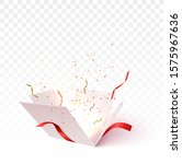 open gift box with confetti... | Shutterstock .eps vector #1575967636