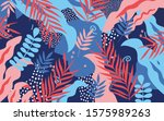 colorful flowers and leaves... | Shutterstock .eps vector #1575989263