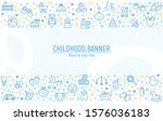 baby banner with line icons  ... | Shutterstock .eps vector #1576036183