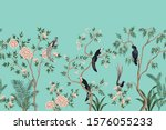 vintage chinoiserie floral rose ... | Shutterstock .eps vector #1576055233