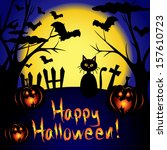 happy halloween card with full... | Shutterstock .eps vector #157610723