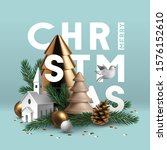christmas composition made of... | Shutterstock .eps vector #1576152610