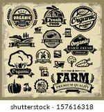 vector organic harvest labels...   Shutterstock .eps vector #157616318