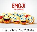 emojis vector background. funny ... | Shutterstock .eps vector #1576163989