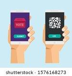 vote application using qr code... | Shutterstock .eps vector #1576168273