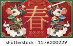 Majestic-looking Chinese rat door god holding their weapon and treasures upon the clouds in paper art style, Chinese text translation: spring and auspicious rat year