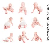 adorable 6 month baby crawling... | Shutterstock . vector #157632026