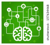 brain connected with icons... | Shutterstock .eps vector #157634468