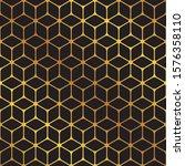 seamless golden cube pattern... | Shutterstock .eps vector #1576358110