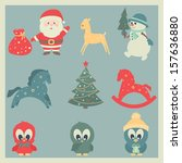christmas and new year icons.... | Shutterstock .eps vector #157636880