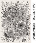 autumn bouquet. flowers  berry  ... | Shutterstock .eps vector #1576374499