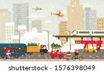 winter city with public... | Shutterstock .eps vector #1576398049