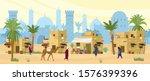 arabic desert landscape with...   Shutterstock .eps vector #1576399396