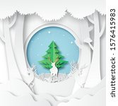 paper art of deers wildlife and ...   Shutterstock .eps vector #1576415983