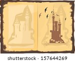 open old book with a picture of ... | Shutterstock . vector #157644269