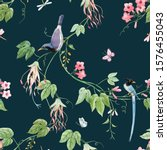 watercolor floral pattern with... | Shutterstock . vector #1576455043