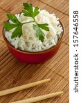 some white chinese rice on a bowl - stock photo