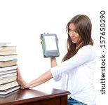 woman compare books and new... | Shutterstock . vector #157650290