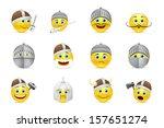 vector set of smiles in knight... | Shutterstock .eps vector #157651274