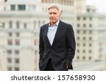 Small photo of MOSCOW - OCTOBER 09: Harrison Ford attends the photo call 'Ender's Game' during the premiere of this film on October 09, 2013 in Ritz Carlton Hotel, Moscow, Russia
