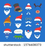 Santa Claus Mask Set Vector...